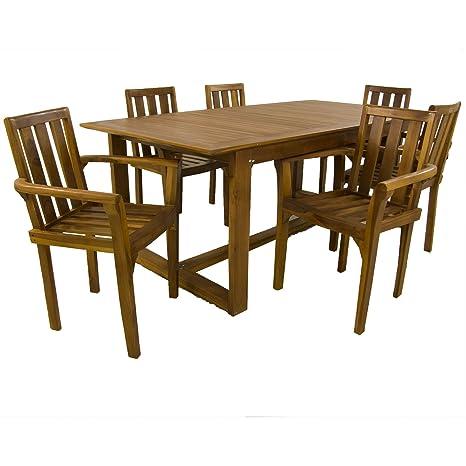Edenjardi Conjunto Muebles Teca, Mesa de 240 cm de Largo y 6 sillones apilables, Madera Teca Grado A, Tratamiento al Agua aplicado