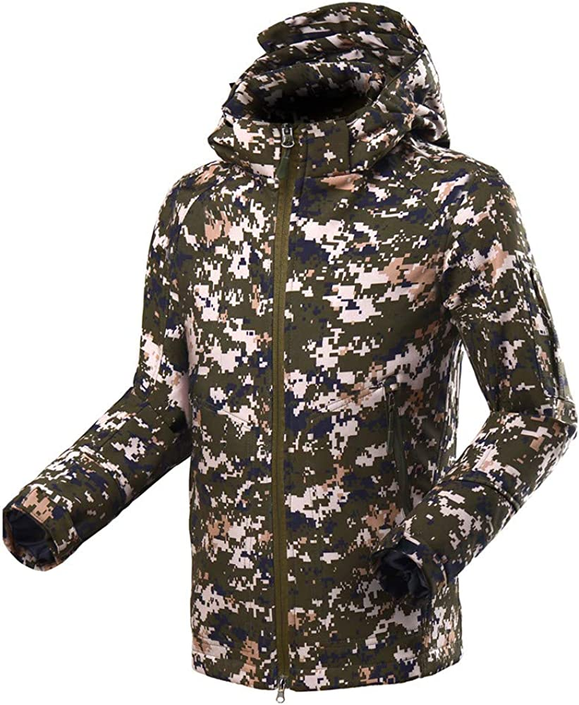 Dempuss Mens Outdoor Hooded Coat Camouflage Soft Shell Outfits Outdoor Sports Fleece Jacket Outwear