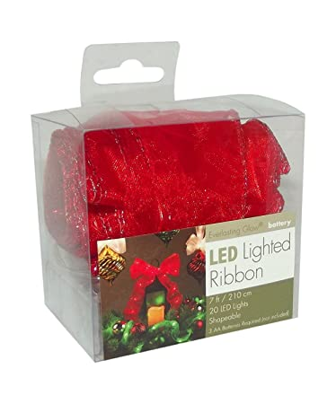 christmas ribbon gerson internatinoal red led ribbon