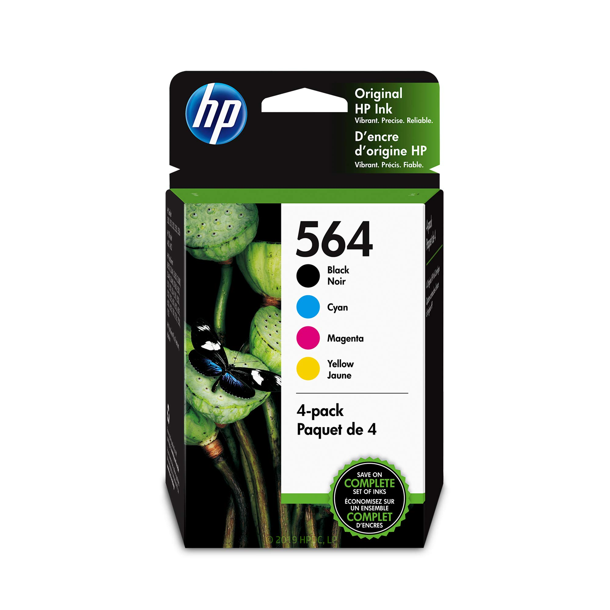 HP 564 Black, Cyan, Magenta & Yellow Ink Cartridges, 4 Cartridges (NA3YQ22AN)