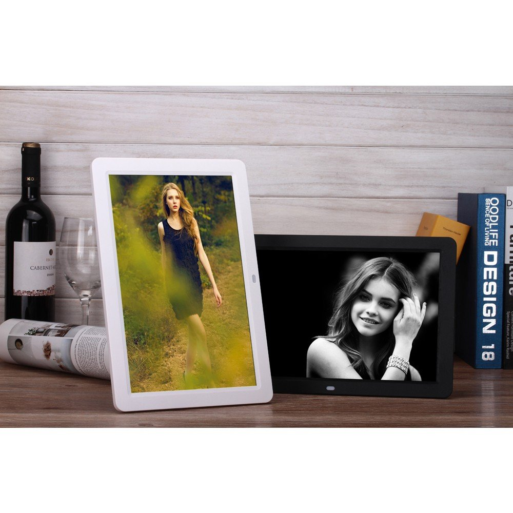 16:9 White Minidiva 12 1080P HD LED Digital Photo Frame - Multifunction Digital Picture Display 1280x800 with Max 32GB Storage