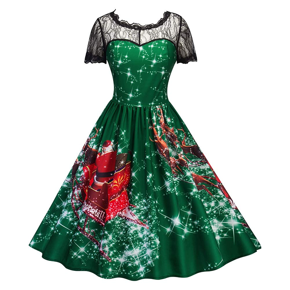 Women Christmas Dress Hollow Lace Collar Printed Pattern Round Neckline Christmas Swing Flared Midi Dress for Cocktail Party Dating