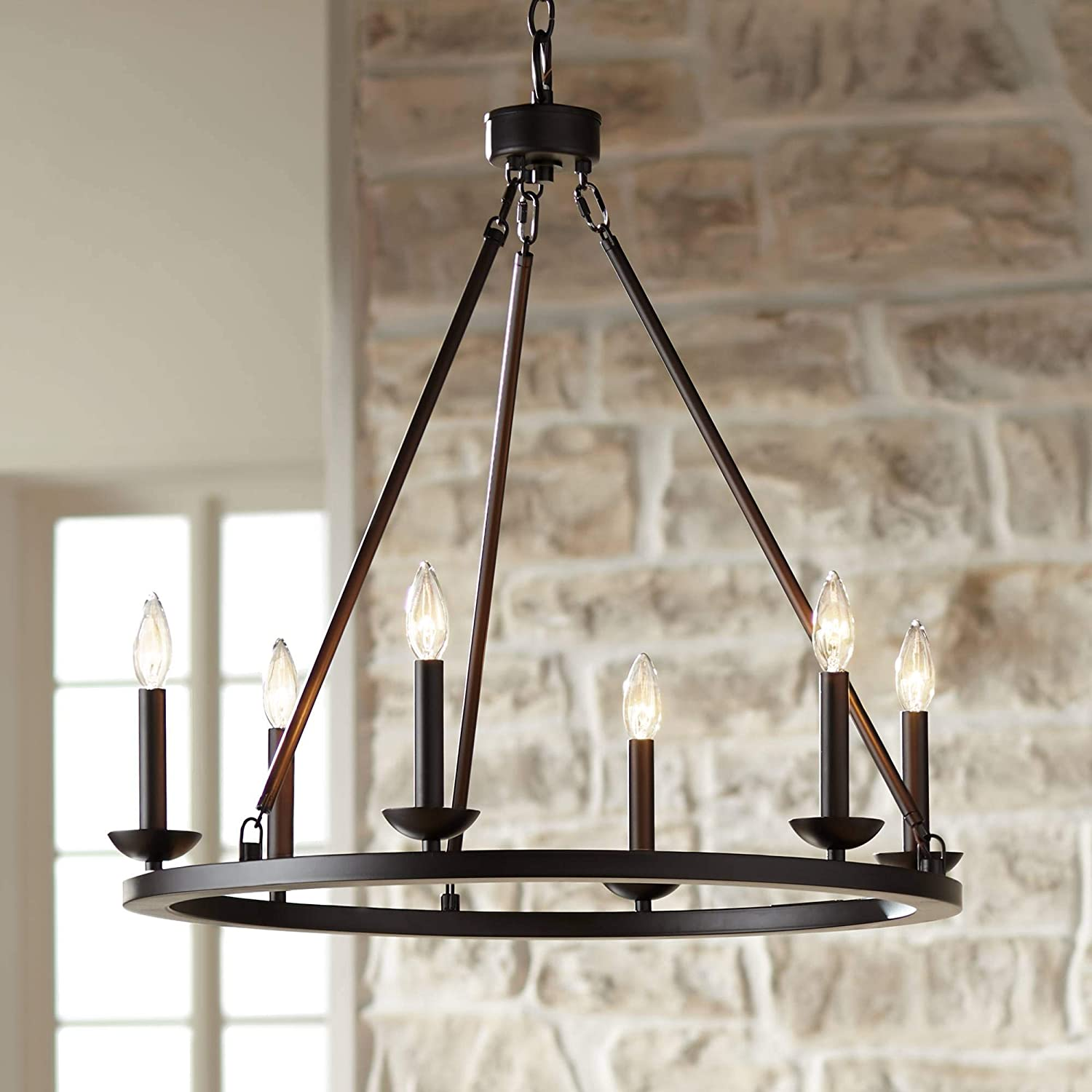 """Myland Bronze Wagon Wheel Chandelier 27"""" Wide Farmhouse 6-Light Fixture for Dining Room House Foyer Kitchen Island Entryway Bedroom Living Room - Franklin Iron Works"""