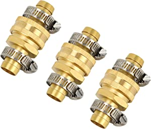 Apas Garden Hose Repair Connector with Clamps, Male and Female Garden Hose Fittings 3 Sets(3/4 inch)