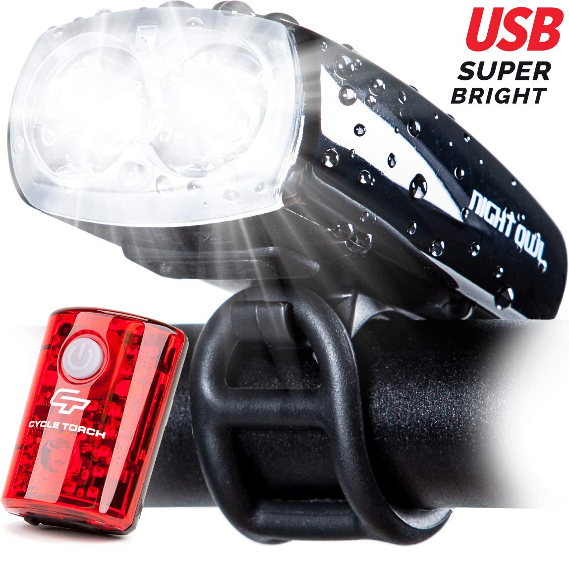 Cycle Torch Night Owl USB Rechargeable Bike Light Set, Perfect Commuter Safety Front and Back Bicycle Light LED Combo