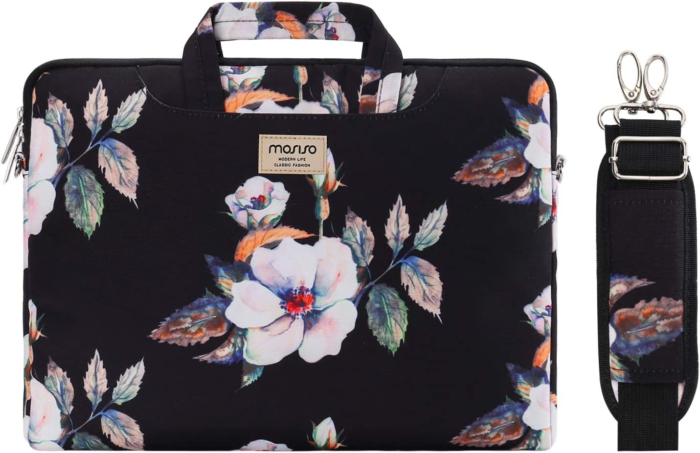 MOSISO Laptop Shoulder Bag Compatible with 2019 MacBook Pro 16 inch, 15 15.4 15.6 inch Dell Lenovo HP Asus Acer Samsung Sony Chromebook, Hibiscus Carrying Briefcase Sleeve Case with Trolley Belt