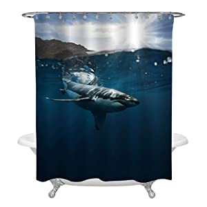 """MitoVilla Great White Shark Swimming Near The Surface of Pacific Ocean Bathtub Shower Curtain, Shark Decor for Kids Boy, Machine Washable Polyester Fabric Bathroom Accessories, Blue, 72"""" x 72"""""""