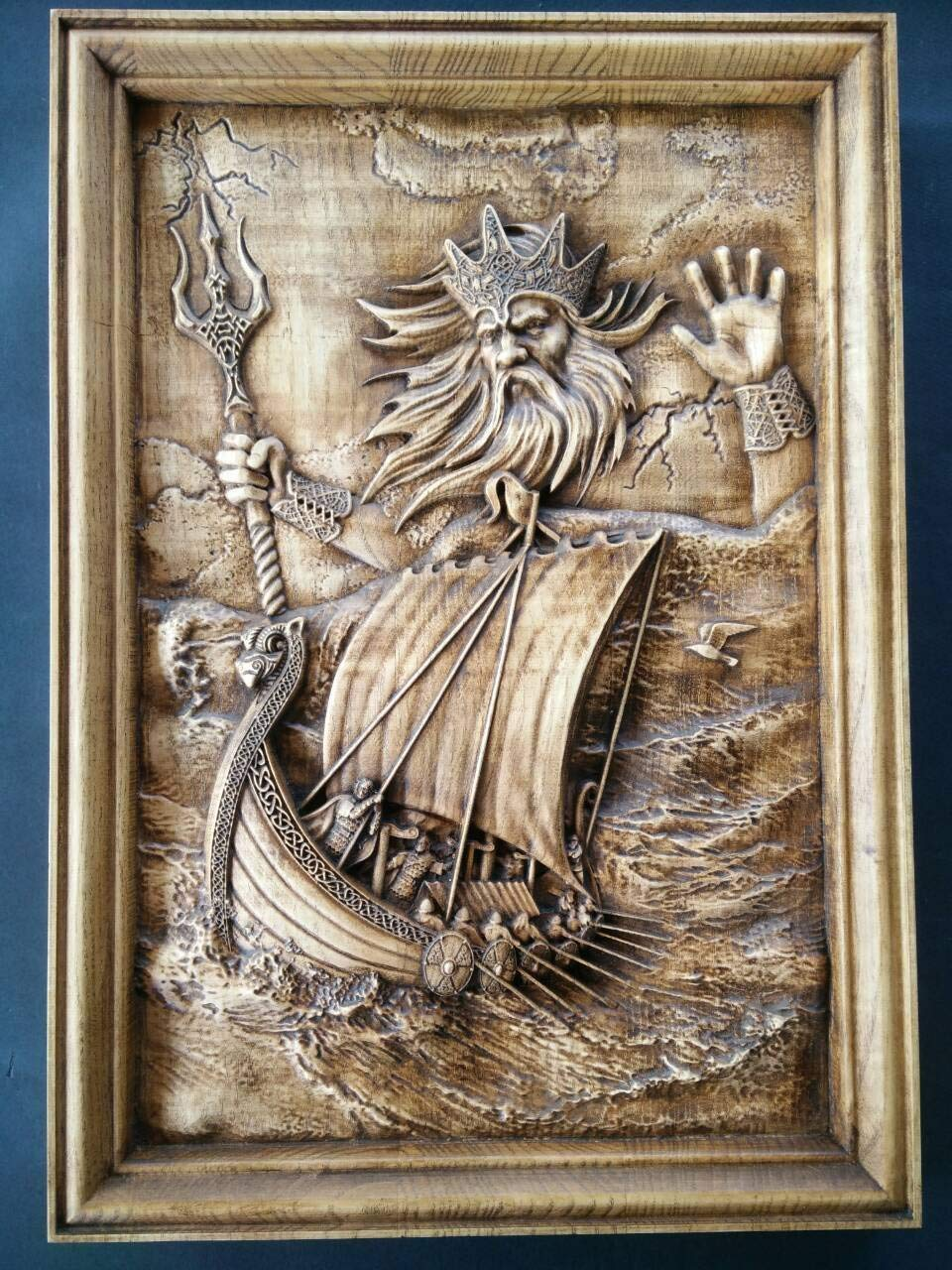 Woodcarving of njord the sea god neptune poseidon norse gods viking art nordic art pagan art pagan gift wall art decoration beechwood