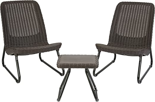 Amazon Com Keter Resin Wicker Patio Furniture Set With Side Table And Outdoor Chairs Whiskey Brown Garden Outdoor