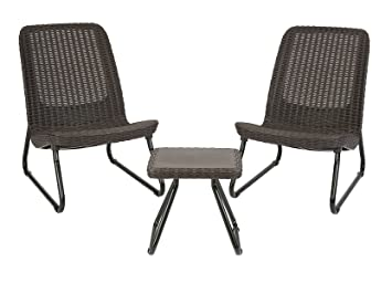 keter rio 3 pc all weather outdoor patio garden conversation chair table set furniture