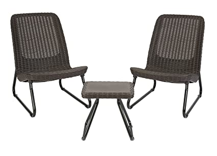 Keter Rio 3 Pc All Weather Outdoor Patio Garden Conversation Chair U0026 Table  Set Furniture,