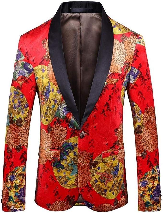 Kiss Me Herren Blazer Leger Anzugjacken Schmale Passform Blumendruck Modischer Blazer Mantel Schicke Jacken Amazon De Bekleidung