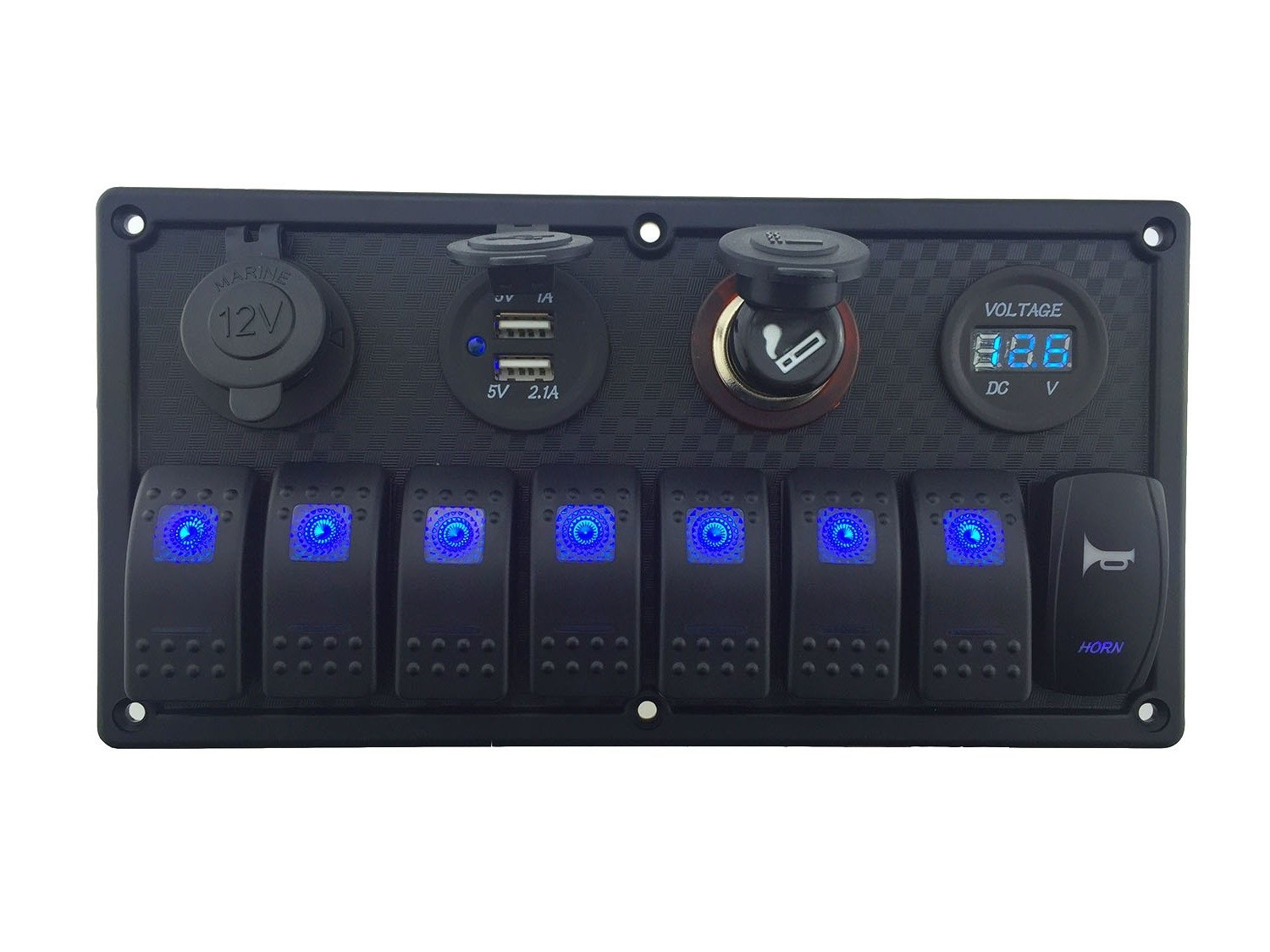 IZTOSS 12V-24V DC 8 Gang Waterproof Marine Blue led Switch Panel with Double led Power Socket Cigarette Lighter Horn Switch and 4.2A USB Voltmeter by IZTOSS