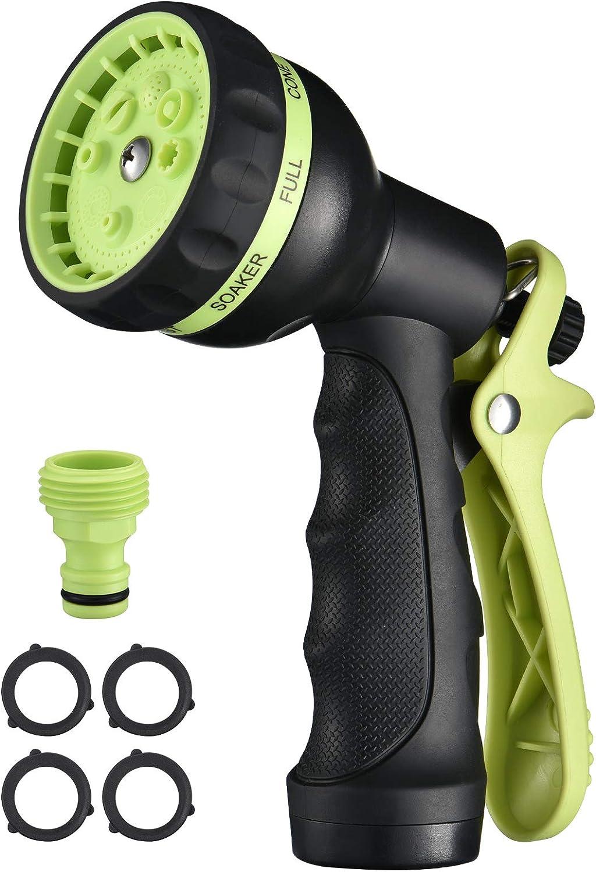 Homitt Garden Hose Nozzle, 8 Sprayer Patterns Hose Nozzle, Heavy-duty Anti-slip Hose Nozzle, High Water Pressure Spray Gun, Labor-saving for Garden/Home/Pet/Car, 4 Rubber Rings, 1 Quick Connector
