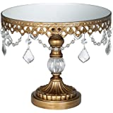 Antique Gold Crystal Mirror Top 8 1/2x10 Round Cake Stand