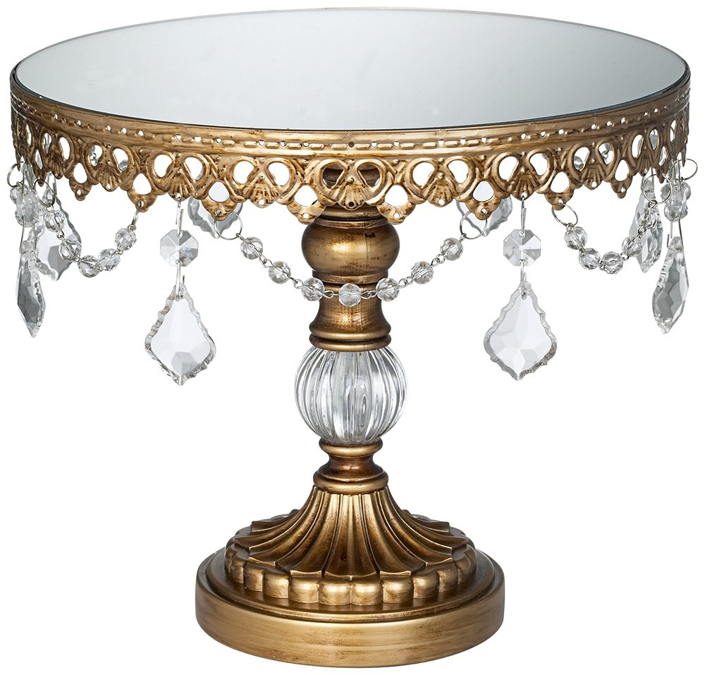 Dahlia Studios Antique Gold Crystal Mirror Top 8 1/2x10 Round Cake Stand