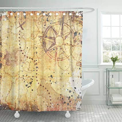 Emvency Fabric Shower Curtain With Hooks Brown Hunt Old Treasure Map On Wooden Grunge Age Antique