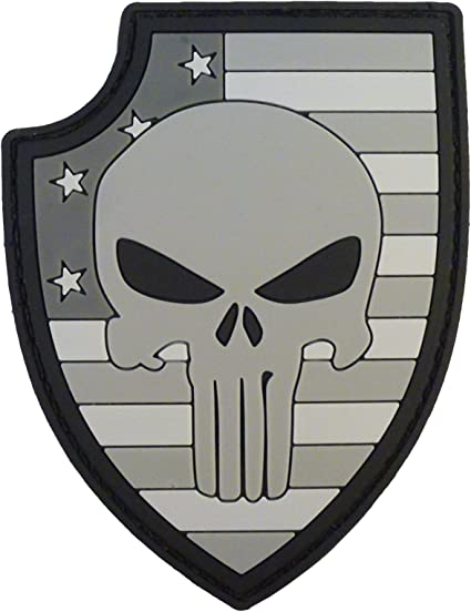 USA american flag punisher skull black ACU subdued tactical aufnäher hook patch