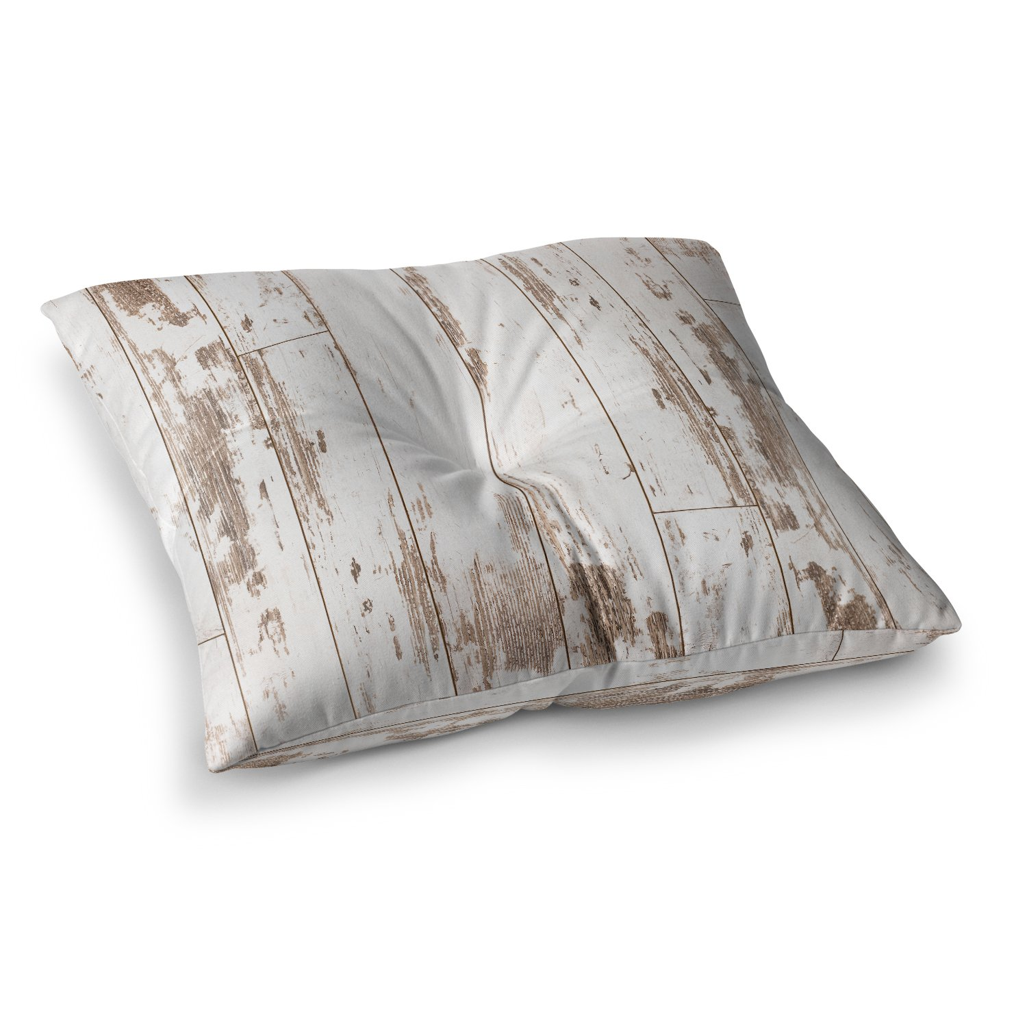 KESS InHouse Susan Sanders Barn Weathered Wood White Beige Photography Square Floor Pillow x 26''