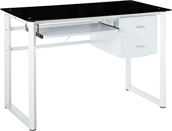 Amazon Com Christopher Knight Home Reeve Tempered Glass Computer Desk Black And White Furniture Decor