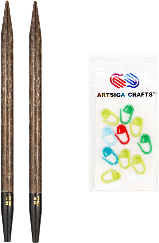 9cm Bundle with Artsiga Crafts Stitch Markers US 3 3.25mm Lykke Knitting Needles Interchangeable Tips Indigo 3.5 inches Long