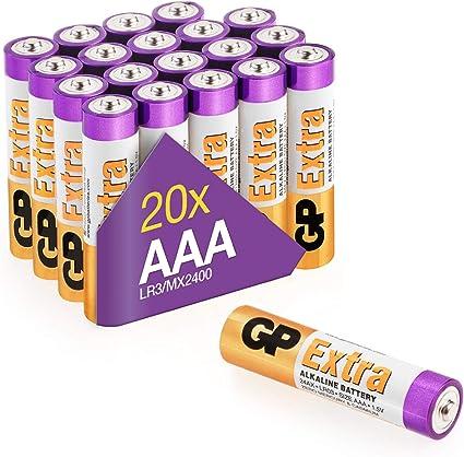 GP - Pack de 20 Pilas AAA Alcalinas | Capacidad y duración excepcional | 1,5V LR03: Amazon.es: Electrónica