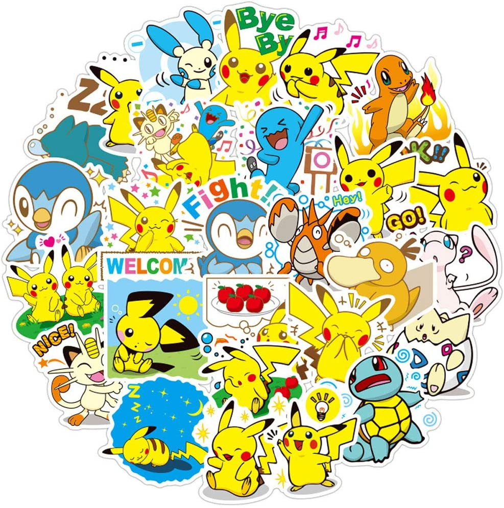 Ratgoo 80Pcs Cute Cartoon Anime Waterproof Vinly Graffiti Stickers for Pokemon,Stickers for Water Bottles Laptop MacBook Luggage Flasks Car Notebook Snowboard Bike,Decals for Kids Teens Boys Girls
