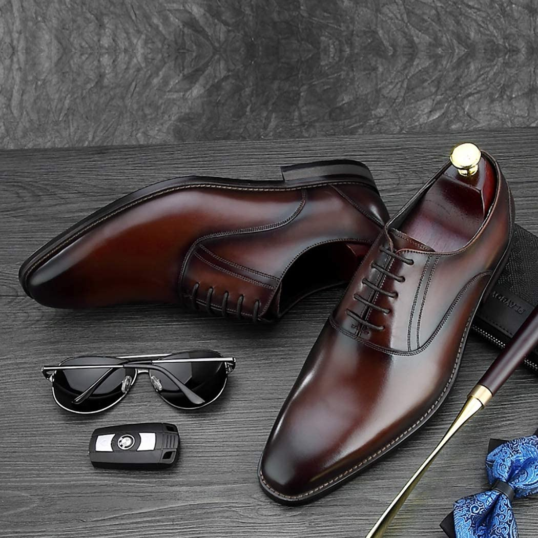 Youth Oxford Business Shoes Mens Classic Formal Dress Shoes Top Grade Leather Lace-Up Gentleman Social Shoes