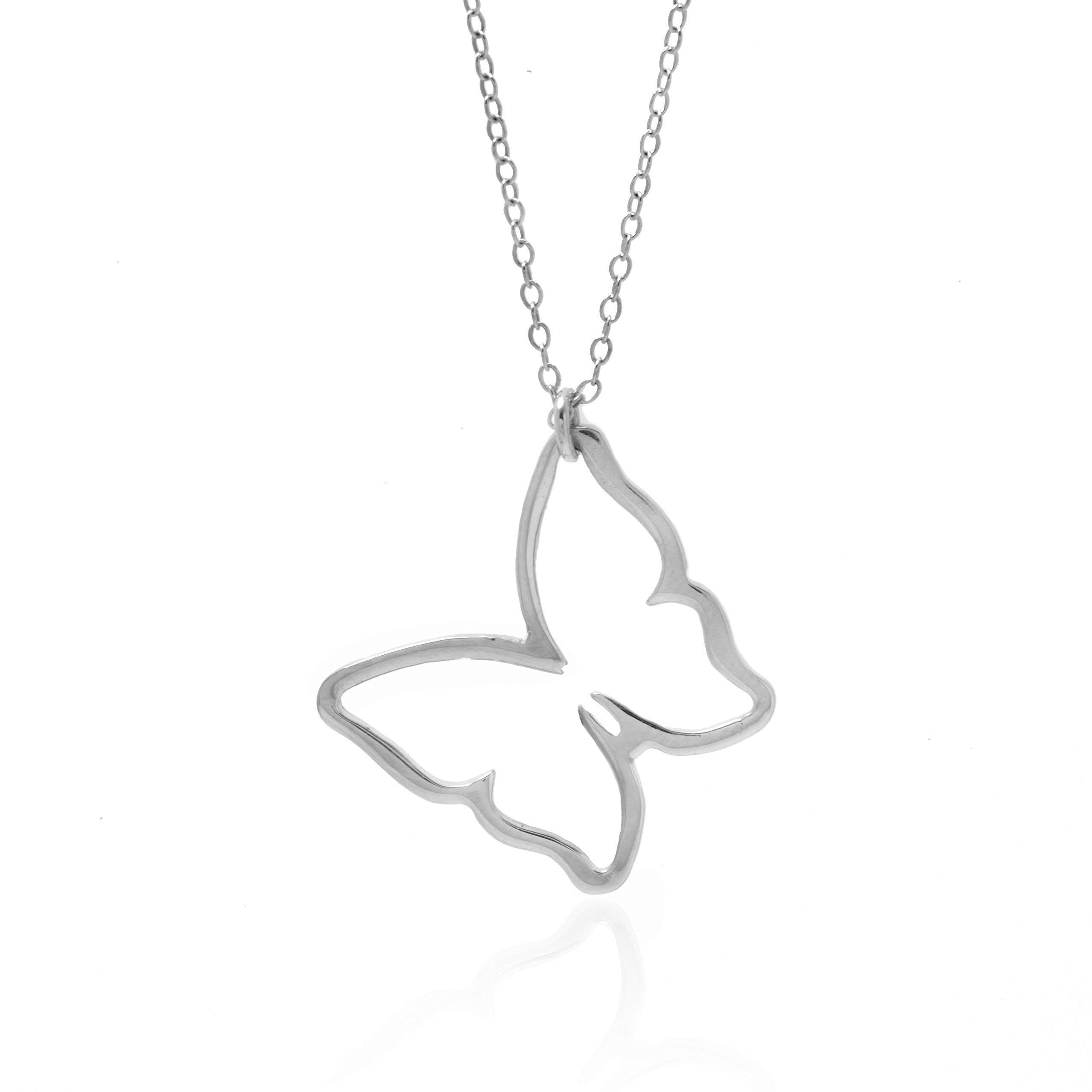 BUTTERFLY NECKLACE - PURE Sterling Silver Necklace (HandeMade in the USA by Gracefully Made Jewelry)