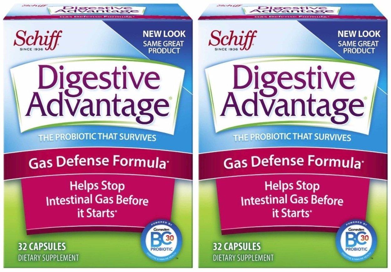 Digestive Advantage Gas Defense Formula Probiotic Capsules, 32 Count (Pack of 2)