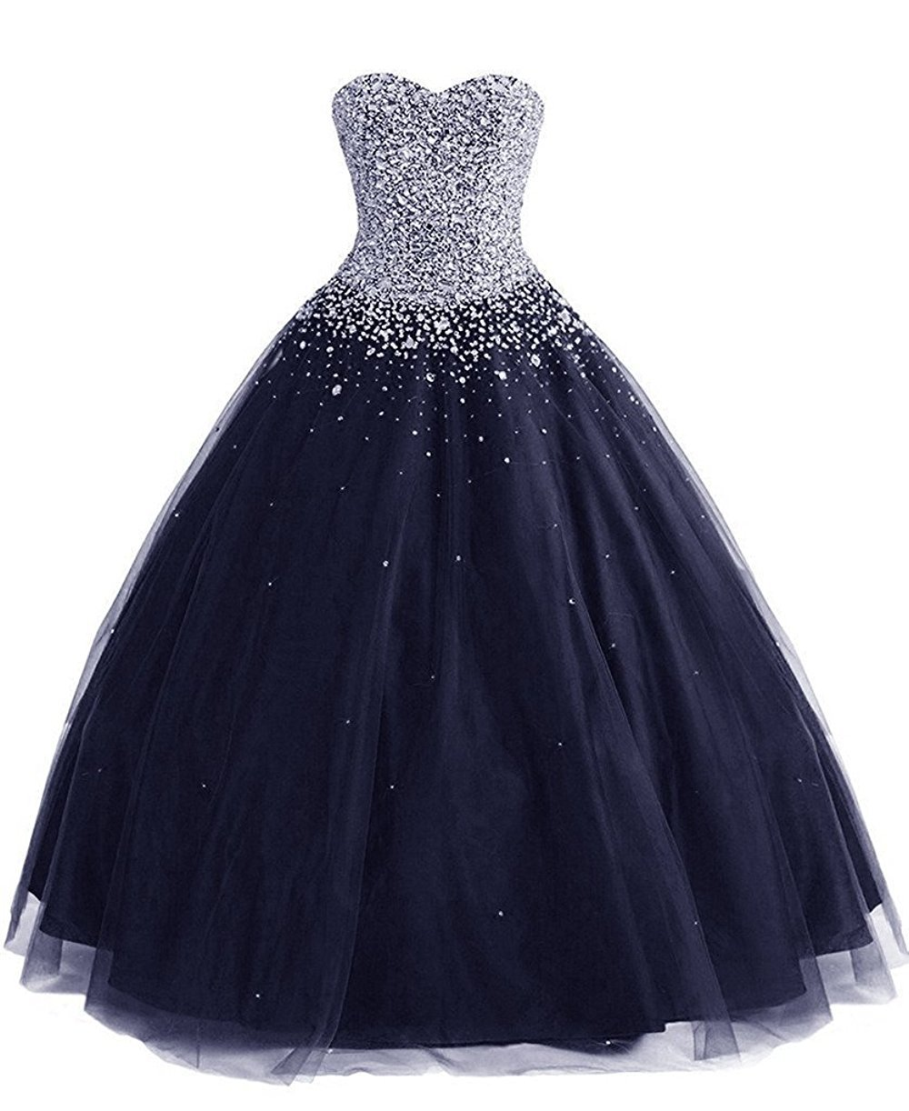 MEILISAY Meilishuo Women's Sweetheart Sparkly Beading Quinceanera Dresses Long 2017 Prom Party Ball Gown With Rhinestones