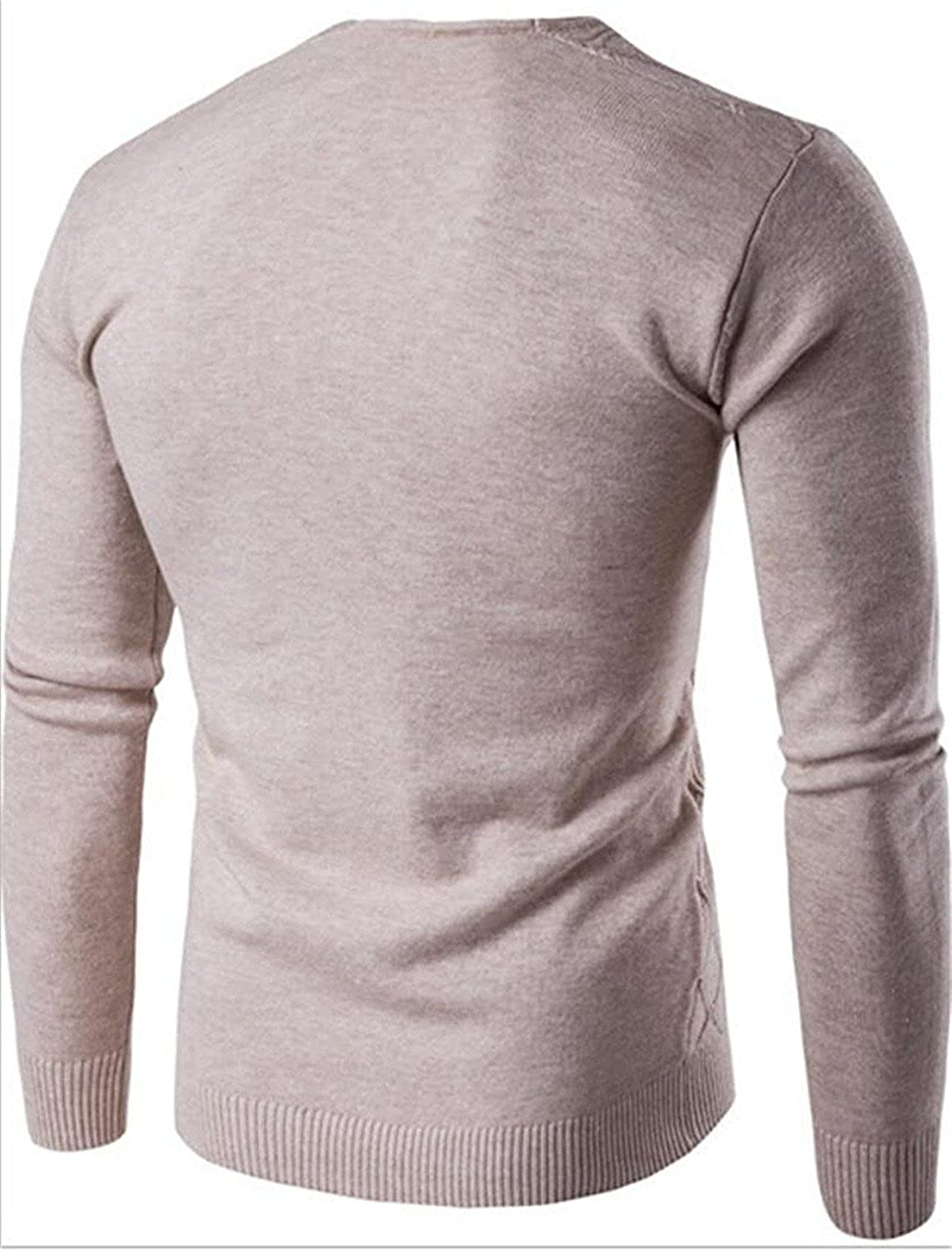Kaured Stylist Mens Solid Pullover V-Neck Long Sleeve Slim Knitted Sweater