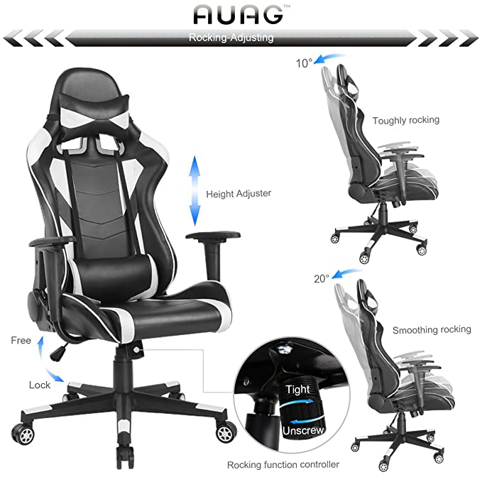 Amazon.com: Auag Gaming Chair Office Chair Computer Desk Chair High Back PU Leather Ergonomic Rocker Gaming Chair PC for Adults Floor Executive Style Swivel ...