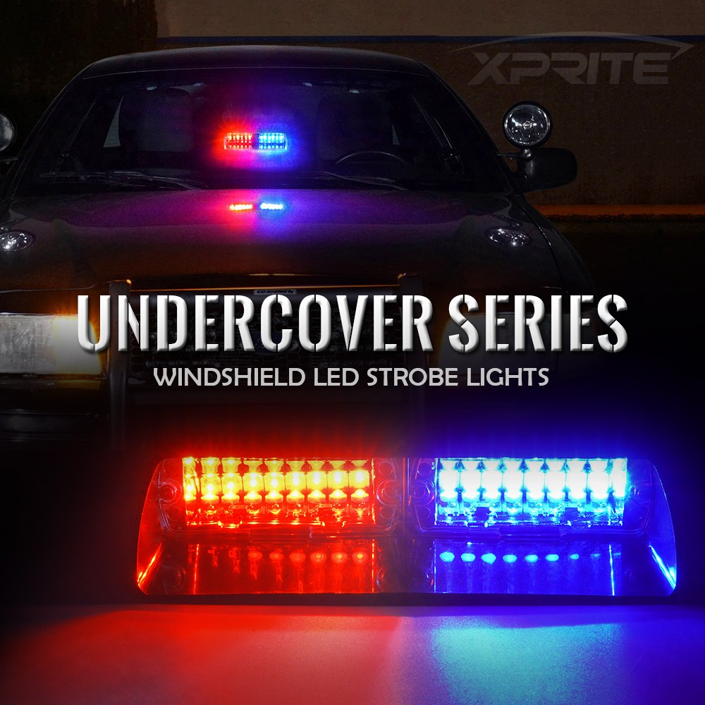 Xprite Red Blue 16 Led High Intensity Law Police Style Strobe Light Circuit Electronics Area Enforcement Emergency Hazard Warning Lights For Interior Roof Dash Windshield With