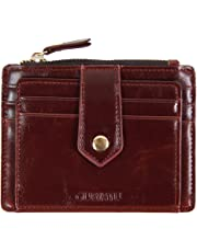 Mens Leather Slim Front Pocket Credit Card Case Holder Wallet With ID Window (Brown)