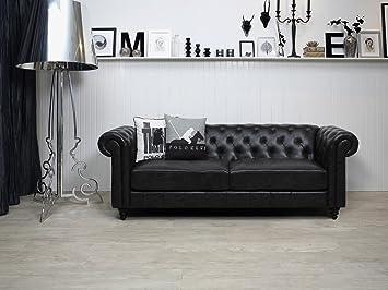 Chesterfield Sofa Garnitur Couch Lounge Chester Schwarz Charlie I
