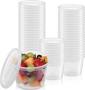 [24 Sets - 16 oz.] Plastic Deli Food Storage Freezer Containers With Airtight Lids Plastic Deli Containers with Lids, Slime, Soup, BPA Free Stackable Leakproof Microwave/Dishwasher/Freezer Safe