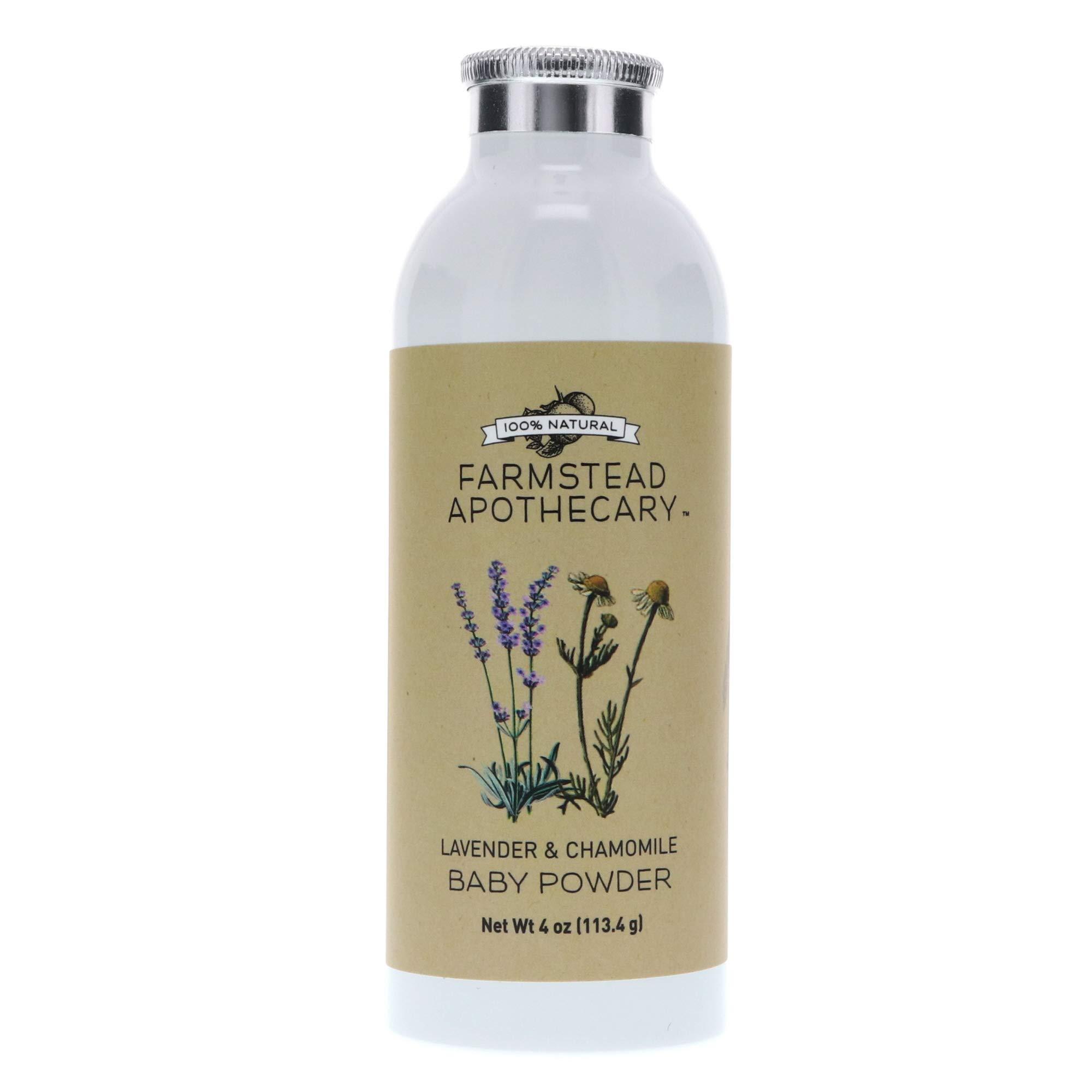 Farmstead Apothecary 100% Natural Baby Powder (Talc-Free) with Organic Tapioca Starch, Organic Chamomile Flowers, Organic Calendula Flowers, Lavender & Chamomile 4 oz by Farmstead Apothecary