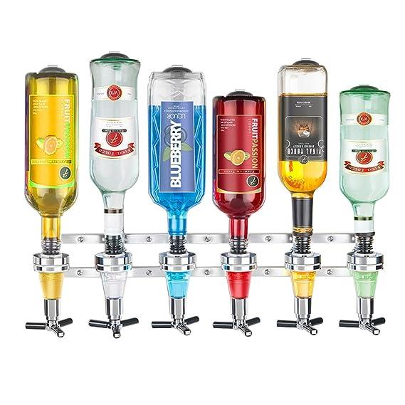 Dispensador de Bebidas para 6 Botellas Dosificador Wall Bracket (Fijar en la Pared, Acero Inoxidable Cabeza, Vino, Jugo, Cóctel) (Plata): Amazon.es: Hogar