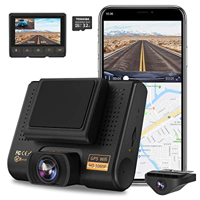Dual Dash Cam, AQP Full HD 1080P Car Camera Front and Rear for Cars, Dashboard Camera Recorder with GPS & WiFi, Sony Sensor, 170°/ 150°Wide Angle, 3 inch IPS Screen, G-Sensor, WDR, Cycle Recording: Electronics