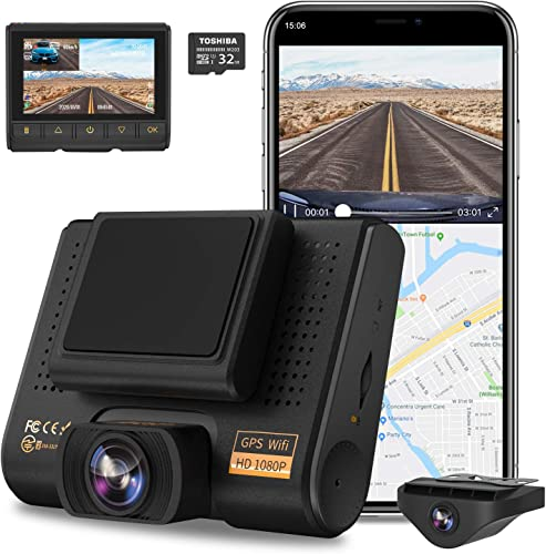 Dual Dash Cam, AQP Full HD 1080P Car Camera Front and Rear for Cars, Dashboard Camera Recorder with GPS WiFi, Sony Sensor, 170 150 Wide Angle, 3 inch IPS Screen, G-Sensor, WDR, Cycle Recording