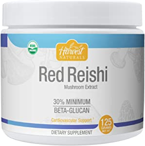 Red Reishi Mushroom Extract Powder - Certified Organic & 30% Min. Beta-Glucan - 125 Grams - Harvest Naturals