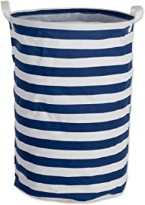 DII Cotton/Polyester PE Coated Assorted Laundry Bins, Hamper, Nautical Blue