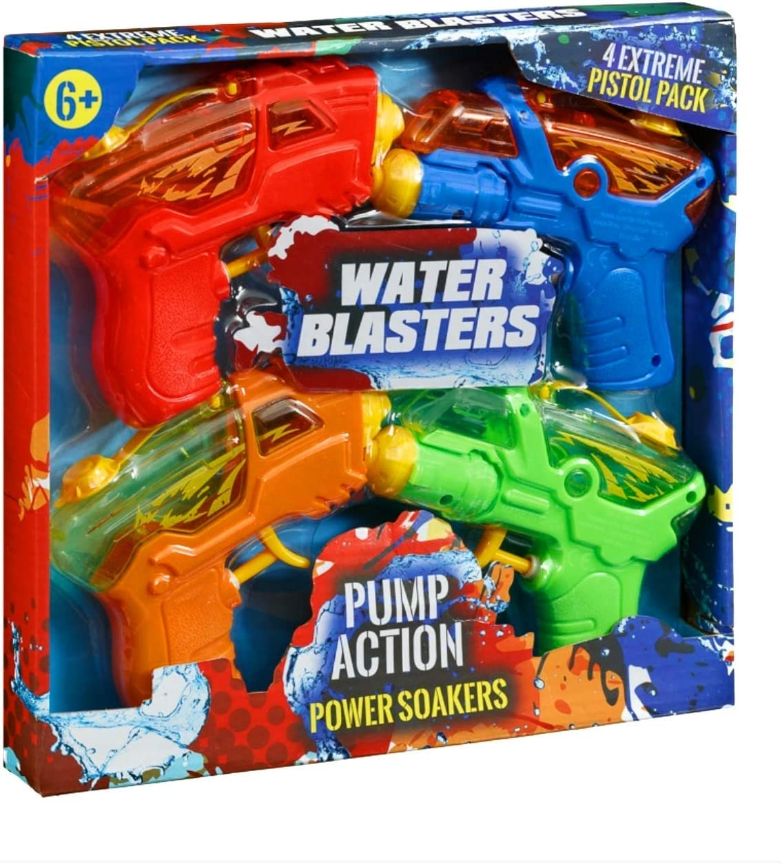 Acl Pump Action Power Soaker Water Gun 4pk Amazon Co Uk Toys Games
