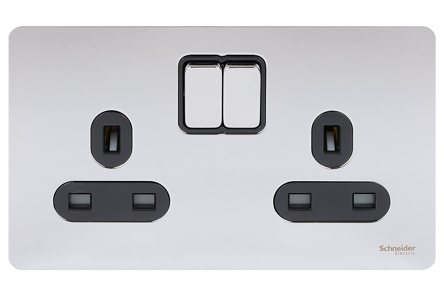 Schneider Electric GU3420BSS Ultimate Screwless Flat Plate 13a Switched Double Socket Stainless Steel Black Insert