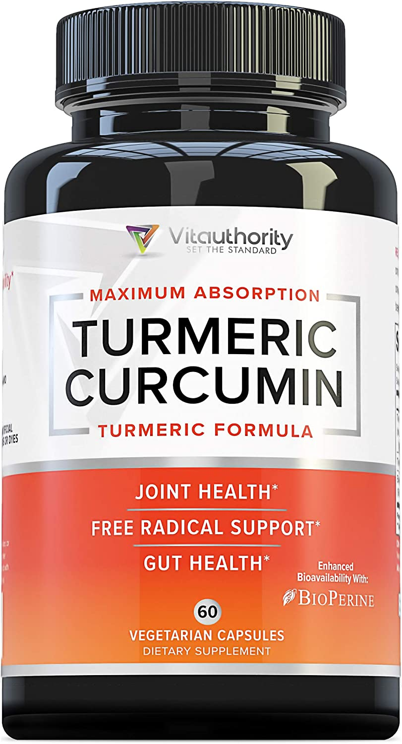 Turmeric Curcumin Supplement with 475 mg Curcuminoids: Strongest Turmeric Capsules with Bioperine Black Pepper | Antioxidant to Support Healthy Joints and Reduced Inflammation, 60 Veggie Caps, 2-Pack