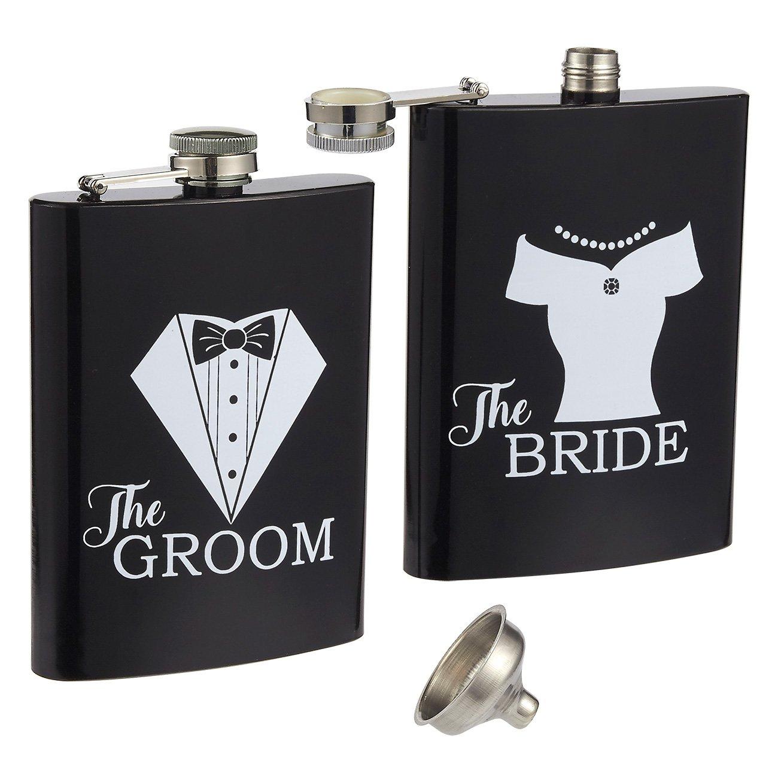 【ポイント10倍】 Liquor Flasks - Flask B0762GQRJV 2-Piece, 240ml Bride for and Groom Pocket Drinking Flasks, Stainless Steel Flask Set with Funnel, Wedding Gifts for Newlyweds, Black and White B0762GQRJV, SOL:c9b0ada4 --- a0267596.xsph.ru