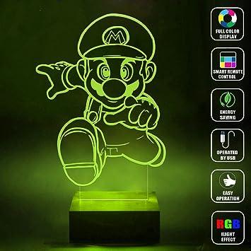 Amazon.com: cmlart Handmade Mario Luigi Art diseño Lámpara ...