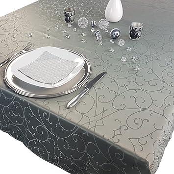 Premium Mantel 150 x 250 cm Elegante - Pizarra techo con adornos Edlen Toalla con aros, diseño gesäumtes mesa estrecho, poliéster, antracita, ...