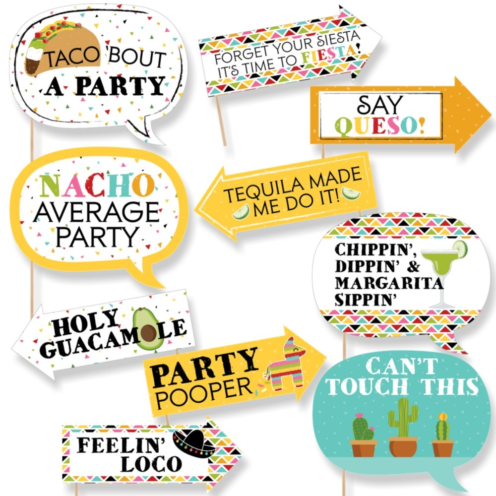 Funny Let's Fiesta - Mexican Fiesta Party Photo Booth Props Kit - 10 Piece by Big Dot of Happiness
